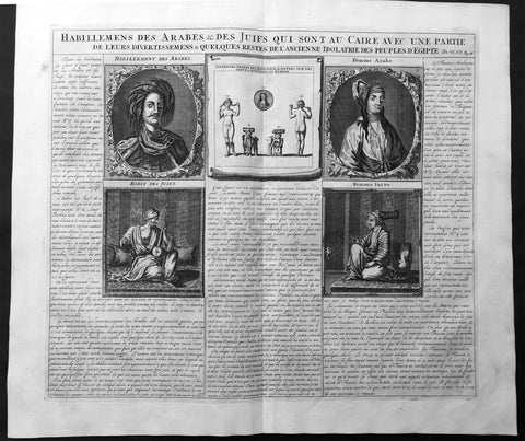 1719 Chatelain Large Antique Print The Costumes of Jews & Arabs in Cairo, Egypt