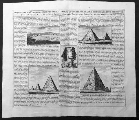 1719 Chatelain Large Antique Print of The Pyramids and Sphinx of Egypt
