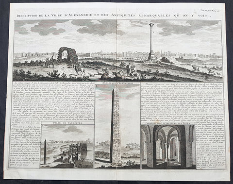 1719 Abraham Chatelain Large Antique Map Panoramic View of Alexandria, Egypt