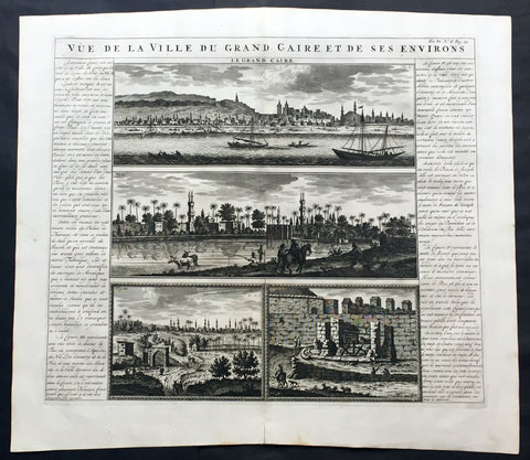 1719 Chatelain Large Antique Print Views of Cairo, Egypt - Nile