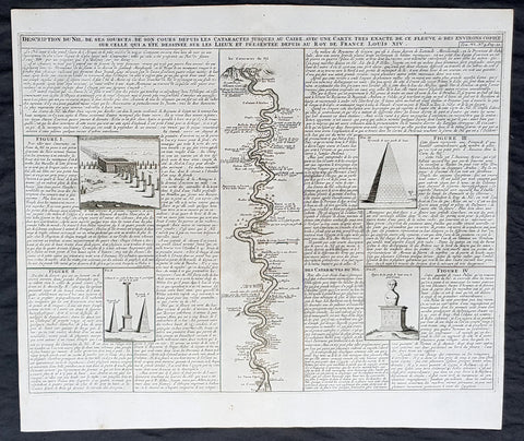 1719 Chatelain Large Antique Print of Egypt Pyramids, & Source of the Nile River