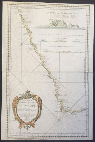 1754 Bellin Large Old, Antique Map of Southern Africa, inset view of Cape Town