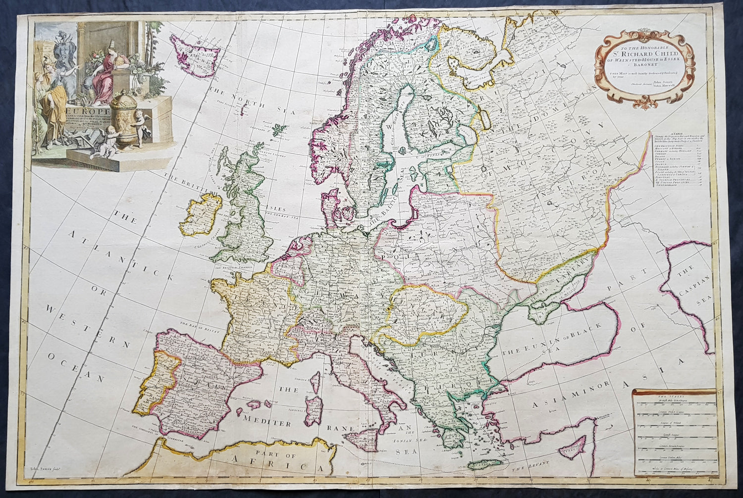1712 John Senex Large Antique Map Of Europe Iceland Poland