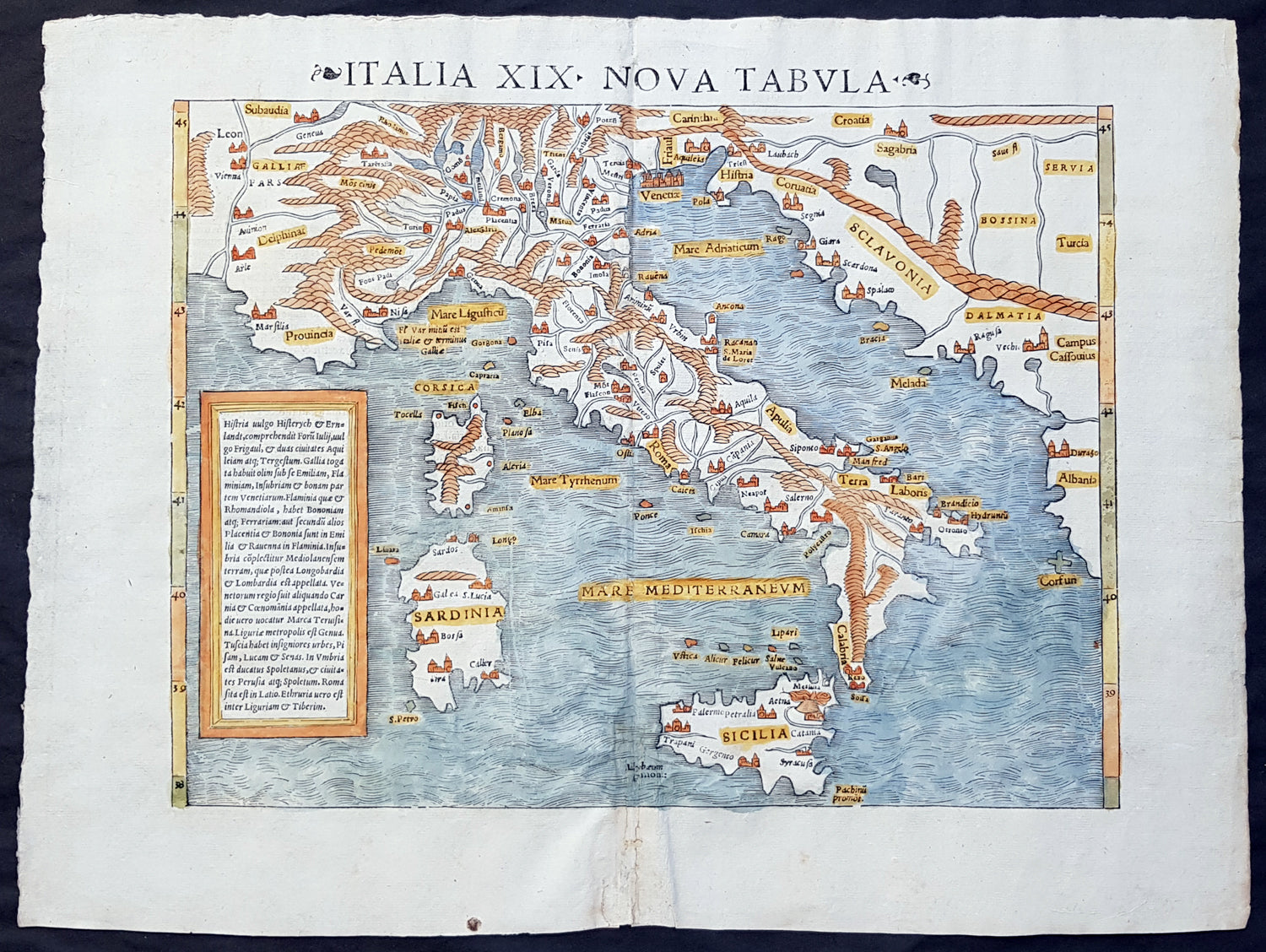 1545 Sebastian Munster Original Antique Map Of Italy Sicily