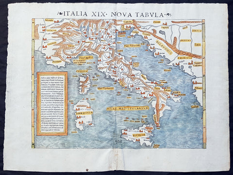 1545 Sebastian Munster Original Antique Map of Italy, Sicily, Corsica & Sardinia - Rare