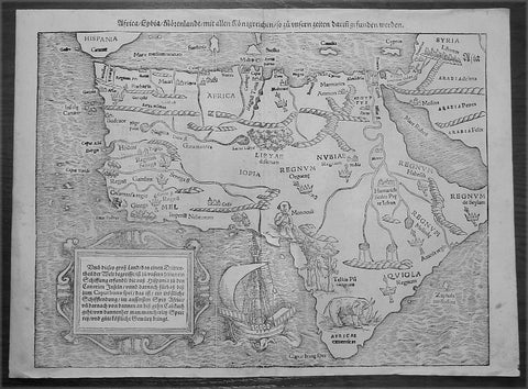 1560 Sebastian Munster Antique Map of Africa