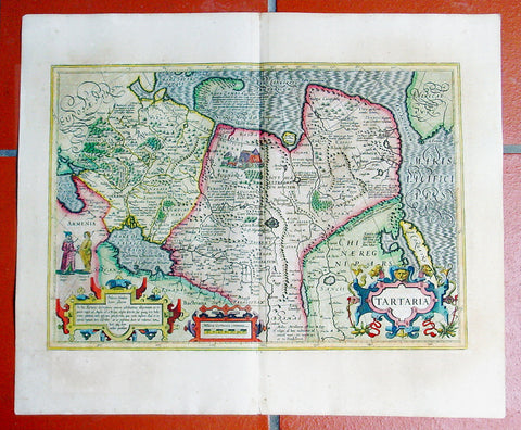 1609 Mercator Hondius Antique Map of Siberia, China, Central Asia, North America