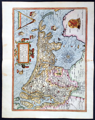1579 Abraham Ortelius Antique Map of Holland - Hollandia Antiquorum Catthorum