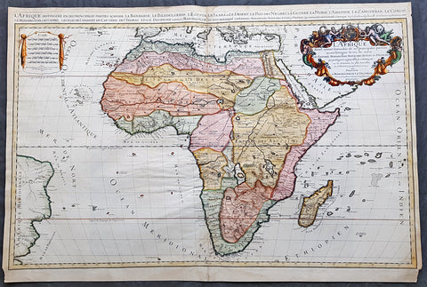 1674 A H Jaillot & Nicolas sanson Large Antique 1st edition Map of Africa
