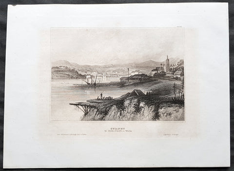 1835 Joseph Meyer Antique Print Early View of The Rocks Sydney, Australia