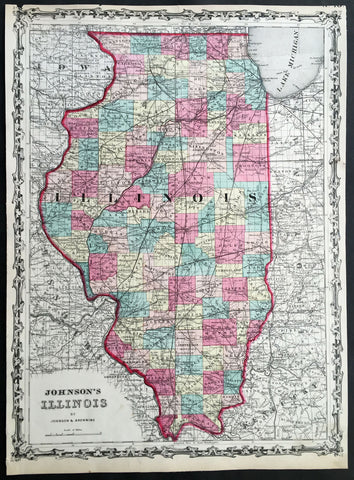 1860 A J Johnson Large Antique 1st edition Map of The State of Illinois, USA