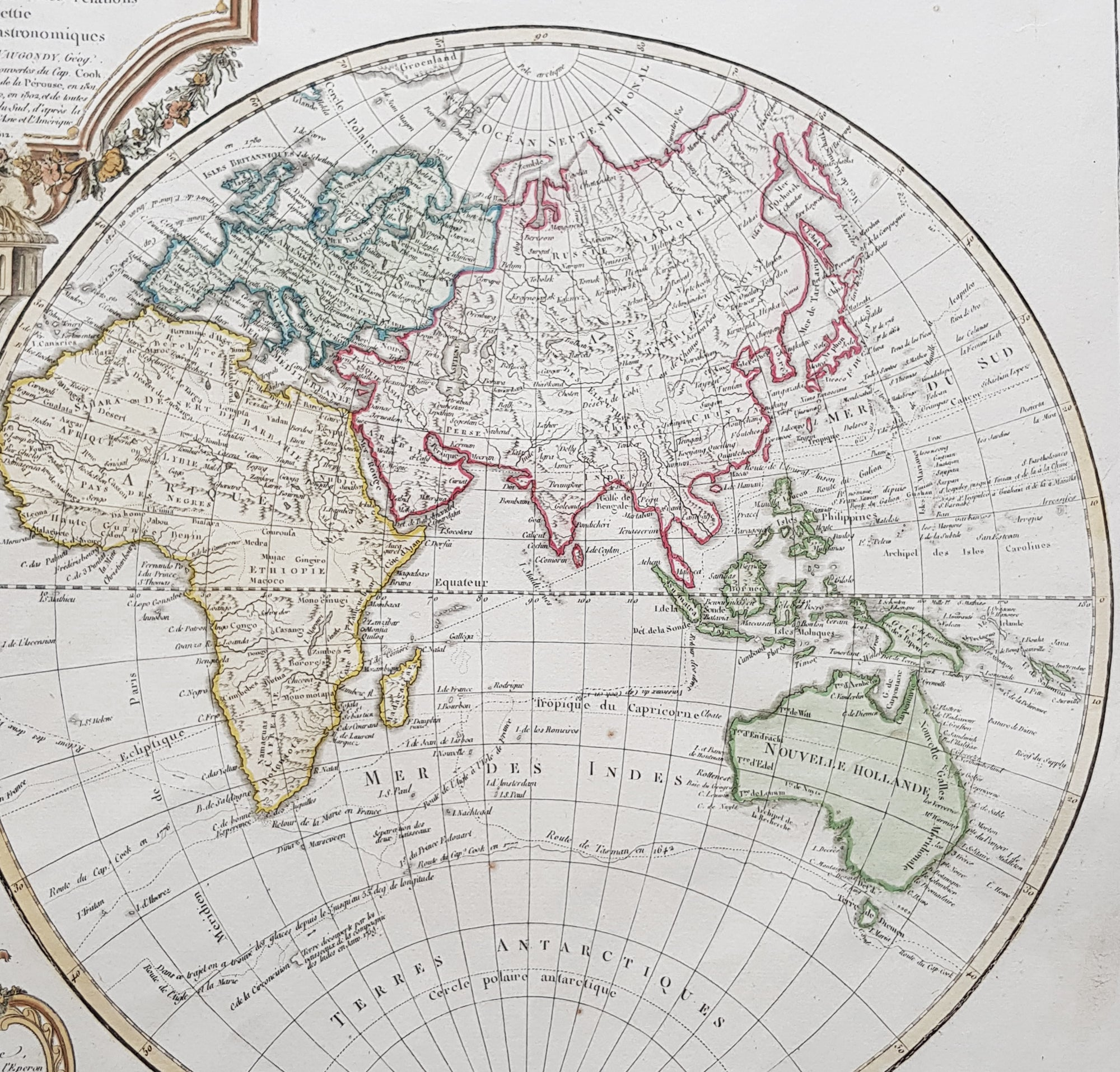 Picture of: 1812 Robert De Vaugondy Large Antique Twin Hempishere World Map New Classical Images