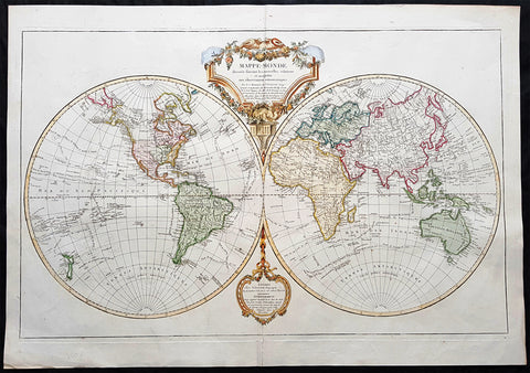 1812 Robert De Vaugondy Large Antique Twin Hempishere World Map - New Holland