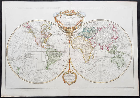 1812 De Vaugondy Large Twin Hemisphere World Map