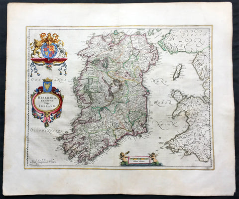 1646 Joan Blaeu Antique Map of Ireland - Hibernia Regnum