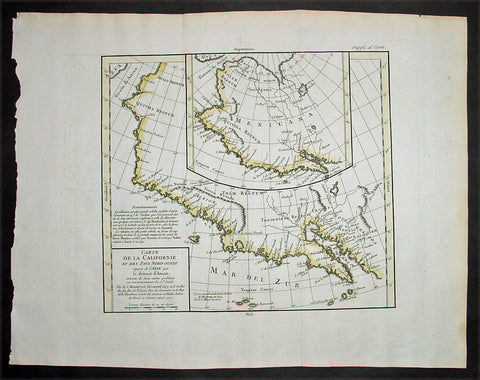 1772 De Vaugondy Visscher Large Antique Map of California & SW America