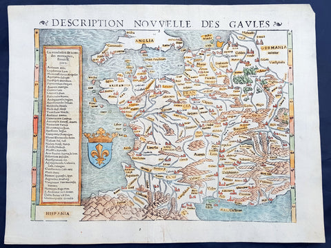 1545 Sebastian Munster Antique Map of France