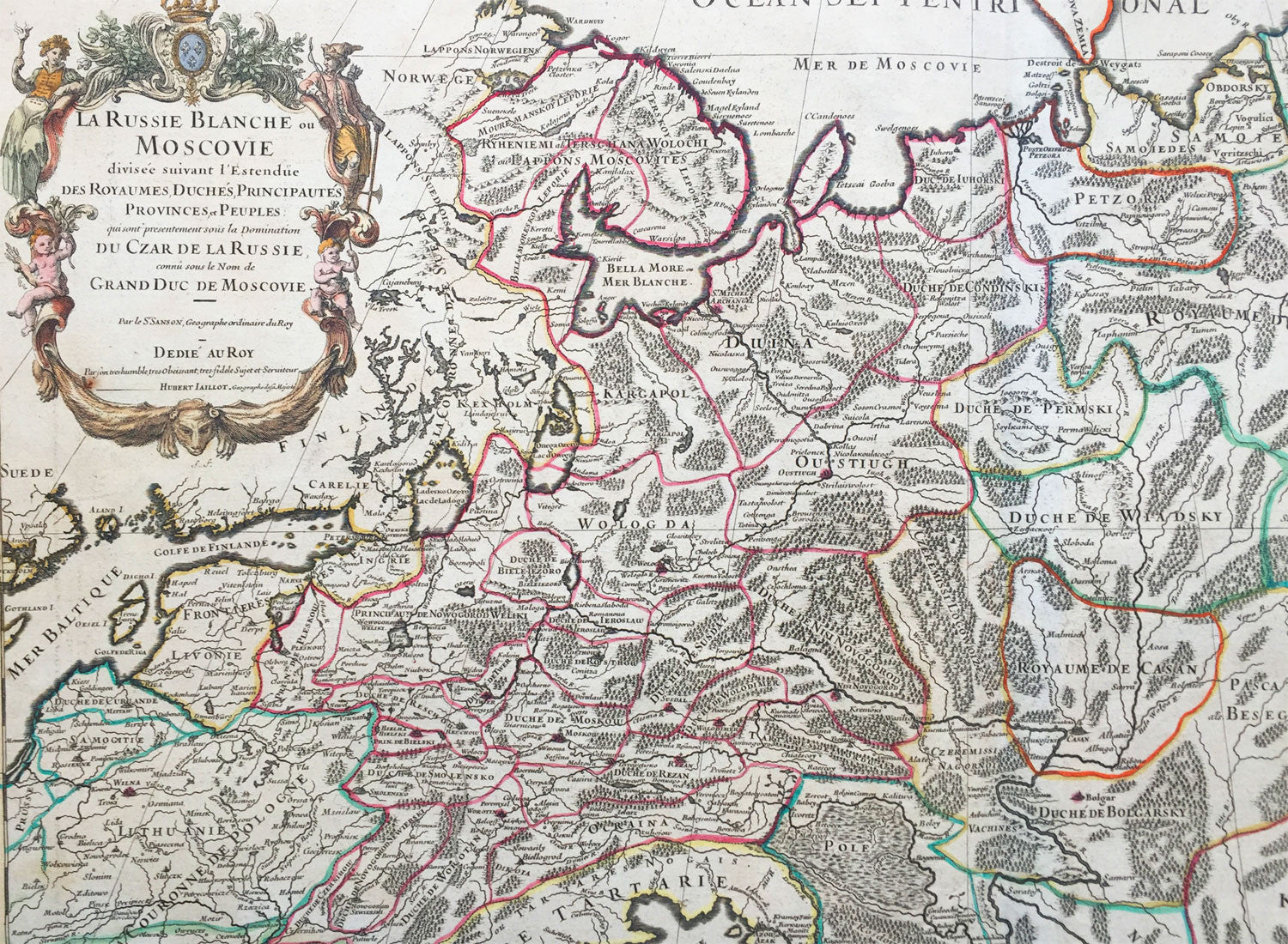 jaillot sanson large old antique map of russia siberia balticcrimea.  jaillot sanson large old antique map of russia siberia