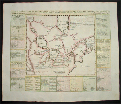 1719 Chatelain Large Antique Map of The Great Lakes of North America, Canada