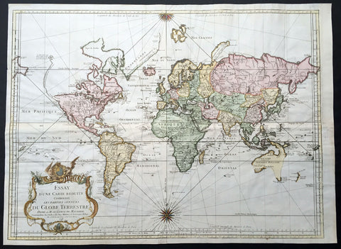 1748 J N Bellin Large Antique World Map on Mercators Projection - 1st edition