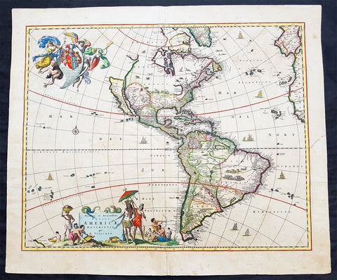 1658 Visscher Large Antique Map of America