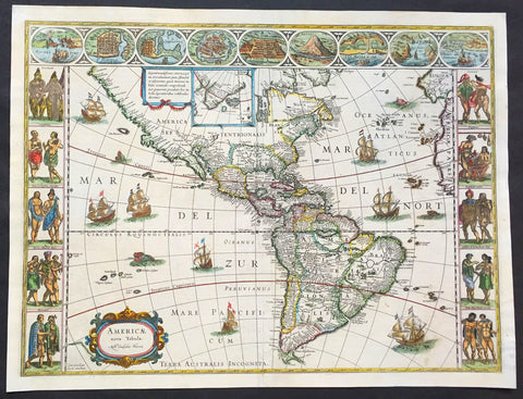 1638 Joan Blaeu Antique Map of America - Americae nova Tabula