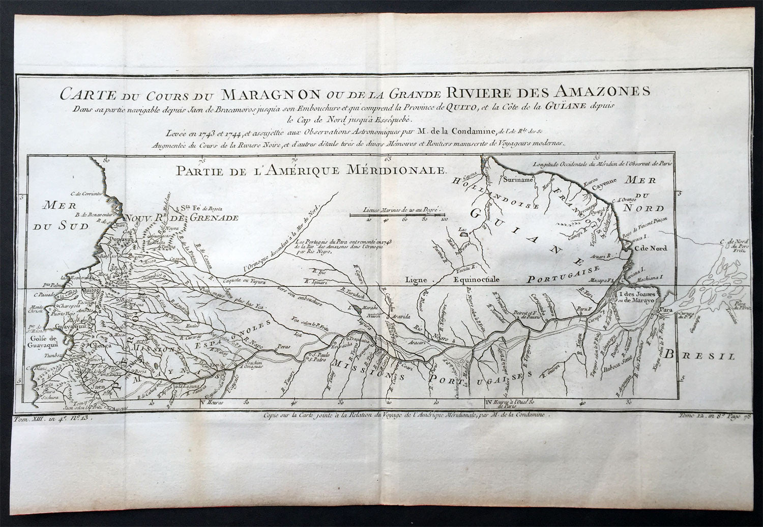 Bellin  Condamine Antique Map The Course Of The Amazon River - Amazon river map of south america