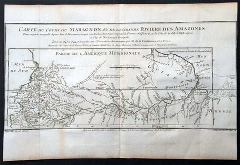 1750 Bellin & Condamine Antique Map The Course of the Amazon River South America