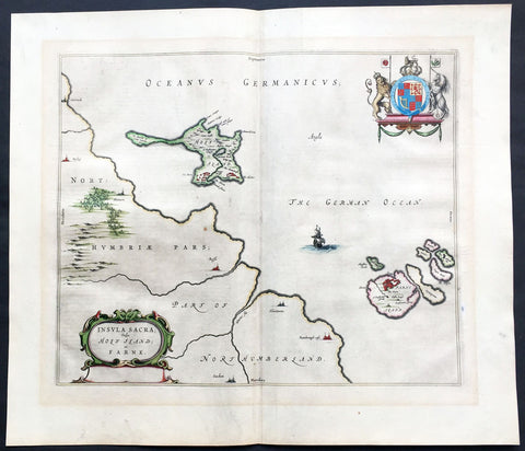 1647 Blaeu Old Antique Map Lindisfarne Holy Islands England - Early Christianity