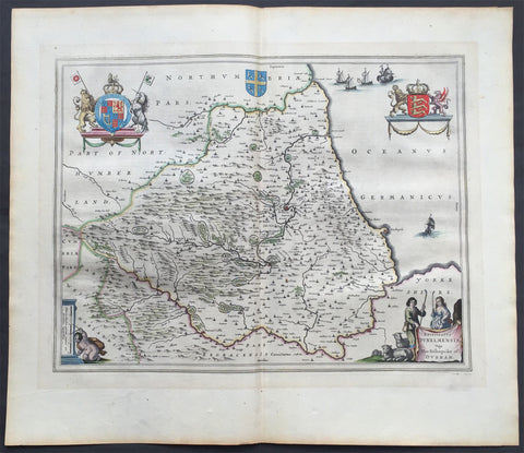 1647 Blaeu Old, Antique Map of The English County of Durham