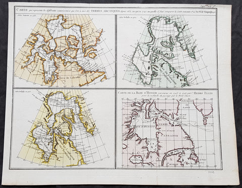 1773 Robert De Vaugondy & Denis Diderot Antique Maps x 4 of Hudson Bay, Canada