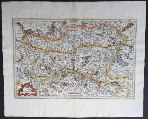 1609 Mercator & Hondius Large Antique Map of Austria