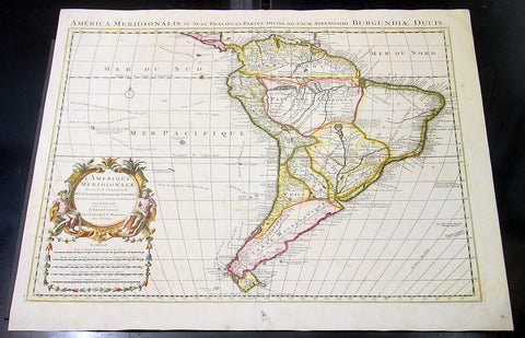 1730 Delisle Large Antique Map of South America