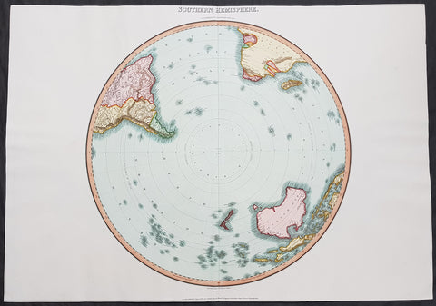 1812 Pinkerton Large Antique Azimuthal Projection Map of the Southern Hemisphere