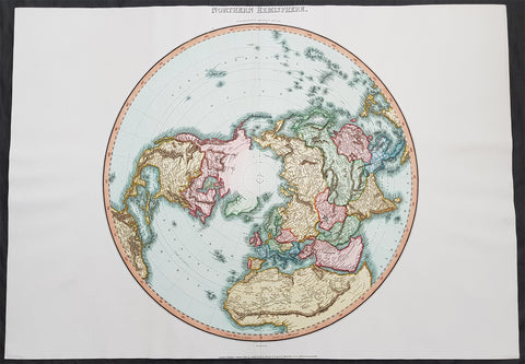 1812 Pinkerton Large Antique Stereographic Projection Map of Northern Hemisphere