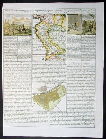 1719 Chatelian Antique Map & Plan Lima, Peru, Colombia