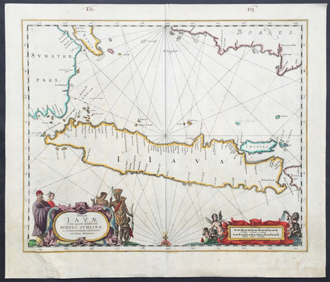 1650 Jan Jansson Antique Map Island of Java, Indonesia - Dutch East India Co