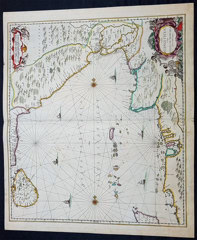 1650 Jan Jansson Large Rare Antique Map of India and The Bay of Bengal