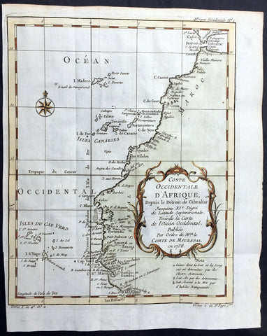 1738 Bellin Antique Coastal Map of NW Africa - Gambia to Morocco, Gibraltar