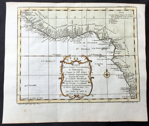 1739 Bellin Antique Coastal Map of Western Africa Sierra Leone to Angola