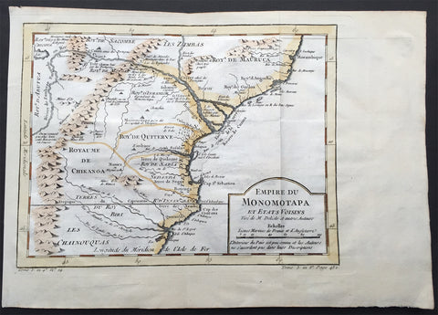 1747 Bellin Antique Map of The Empire of Mutapa or Monomotapa SE Africa Zimbabwe