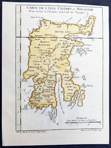 1752 Bellin Antique Map of the Island of Sulawesi, formerly Celebes, Indonesia