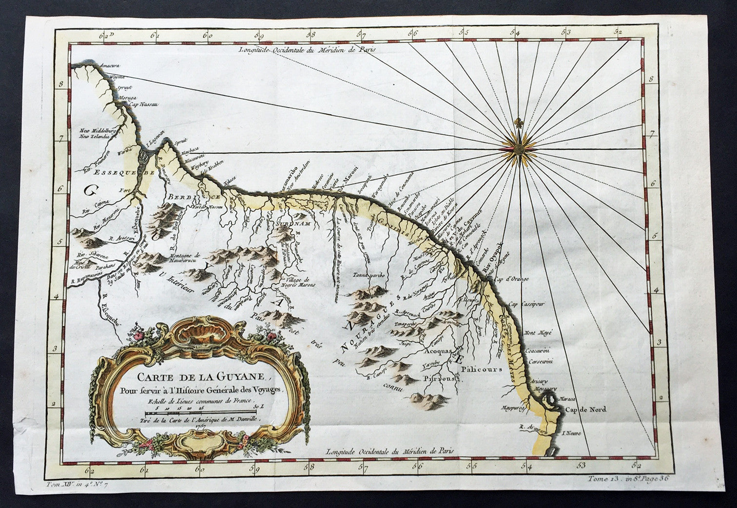 1757 Bellin Large Antique Map of Guyana, South America – Classical ...