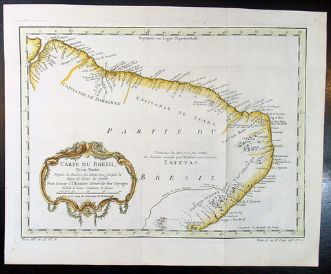 1757 Nicolas Bellin Original Antique Map of Brazil, South America
