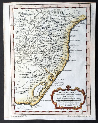 1755 Nicolas Bellin Original Antique Map of Brazil, Camarin to Cape St Marie