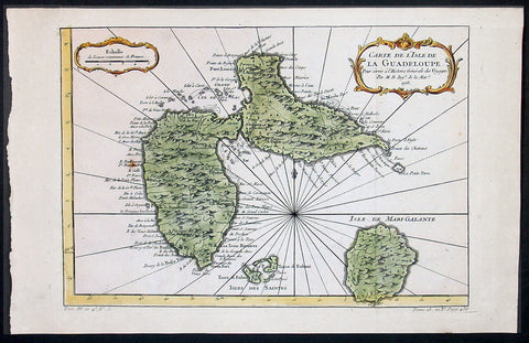 1758 Bellin Antique Map of Guadeloupe Islands, Caribbean, West Indies