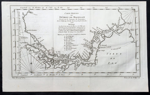 1753 Bellin Original Antique Map of Magellan Straits, Argentine Tierra Del Fuego