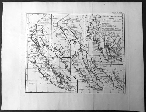 1770 De Vaugondy & Diderot Antique Map of Various Cartographical Views of California