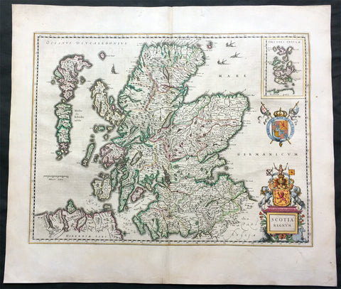 1646 Joan Blaeu Large Antique Map of Scotland - Scotia Regnum