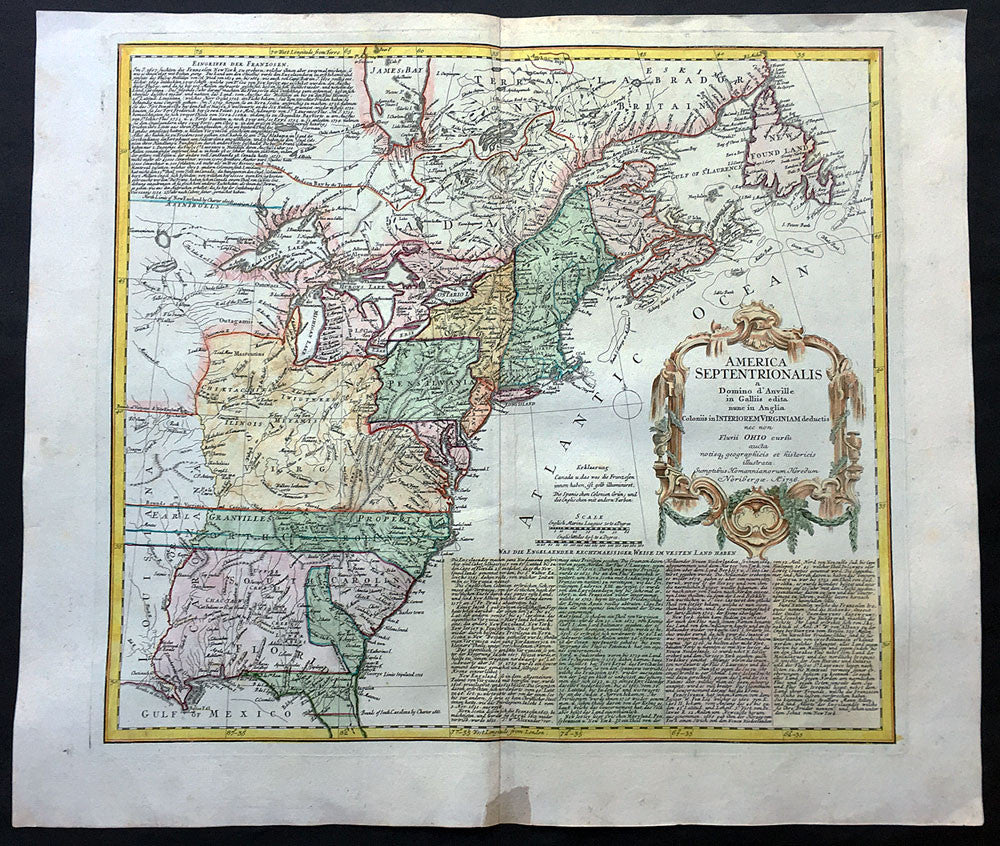 1756 Homann Large Antique Map of The Colonial United States - French on railroad maps in us, flowers in us, states maps in us, stats in us, florida maps in us,